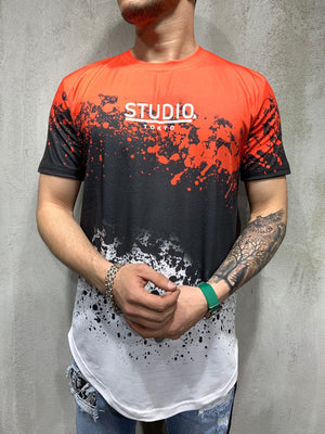 Orange Mixed Colour Printed Oversized Mens T-Shirt AY479 Streetwear Mens T-Shirts - Sneakerjeans