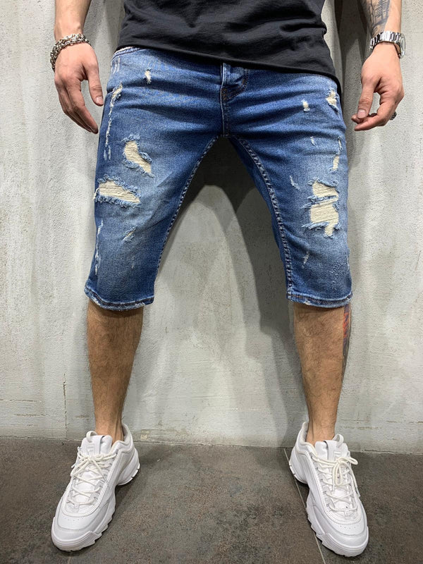 Blue Ripped Long Jeans Short AY442 Streetwear Mens Shorts - Sneakerjeans