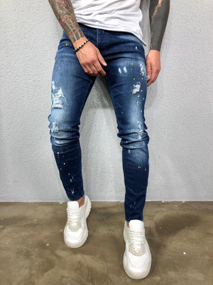 Blue Color Licking Ripped Jeans Slim Fit Jeans BL544 Streetwear Mens Jeans - Sneakerjeans