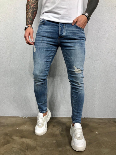 Washed Blue Ripped Jeans Slim Fit Jeans BL481 Streetwear Mens Jeans