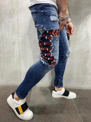 Blue Snake Patched Jeans Slim Fit Mens Jeans AY451 Streetwear Mens Jeans - Sneakerjeans