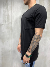 Load image into Gallery viewer, Black Asymetric Oversized Mens T-Shirt AY473 Streetwear Mens T-Shirts