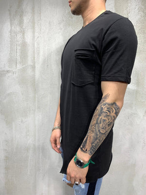 Black Asymetric Oversized Mens T-Shirt AY473 Streetwear Mens T-Shirts - Sneakerjeans