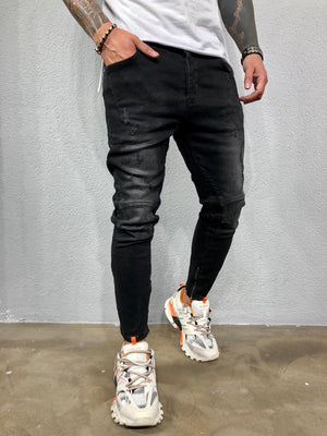 Black Ankle Zip Jeans Slim Fit Jeans BL548 Streetwear Mens Jeans - Sneakerjeans