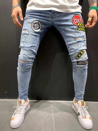 Blue Patched Ripped Slim Fit Mens Jeans AY558 Streetwear Mens Jeans