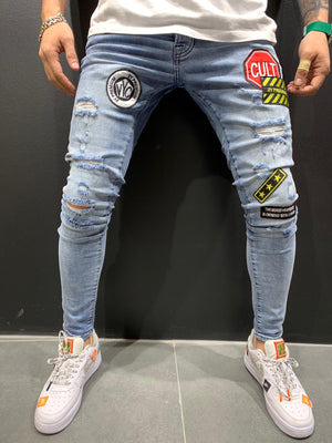 Blue Patched Ripped Slim Fit Mens Jeans AY558 Streetwear Mens Jeans - Sneakerjeans