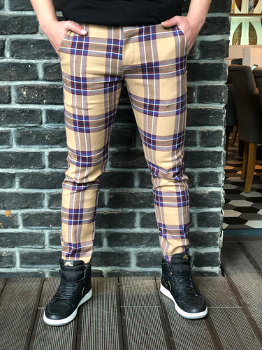 Beige Mixed Colour Checkered Slim Fit Casual Pant DJ126 Streetwear Pant