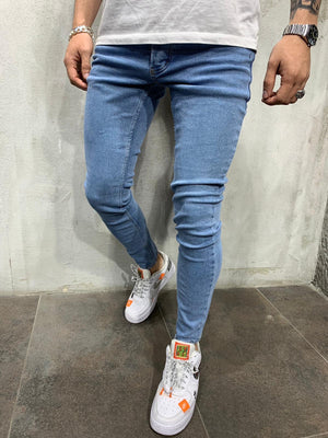 Blue Washed Slim Fit Mens Jeans AY540 Streetwear Mens Jeans - Sneakerjeans