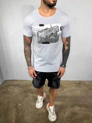 Gray Printed Mens T-Shirt BL571 Streetwear Mens T-Shirts - Sneakerjeans