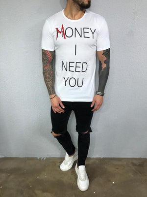 White Printed Mens T-Shirt BL563 Streetwear Mens T-Shirts - Sneakerjeans