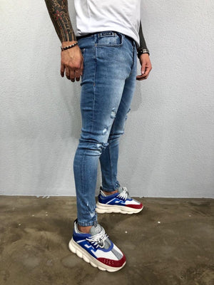 Blue Washed Ripped Jeans Slim Fit Jeans BL500 Streetwear Mens Jeans - Sneakerjeans