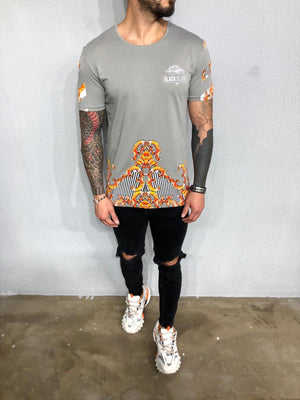 Khaki Printed Oversized Mens T-Shirt BL467 Streetwear Mens T-Shirts - Sneakerjeans