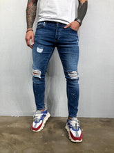 Load image into Gallery viewer, Blue Ripped Jeans Slim Fit Jeans BL478 Streetwear Mens Jeans
