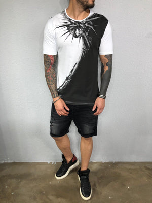 Black & White Printed Mens T-Shirt BL523 Streetwear Mens T-Shirts - Sneakerjeans