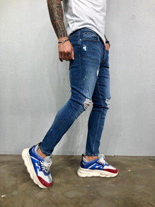 Blue Ripped Jeans Slim Fit Jeans BL478 Streetwear Mens Jeans