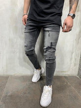 Load image into Gallery viewer, Washed Gray Jeans Slim Fit Mens Jeans AY455 Streetwear Mens Jeans