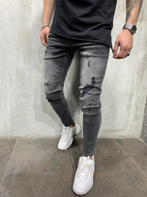 Washed Gray Jeans Slim Fit Mens Jeans AY455 Streetwear Mens Jeans - Sneakerjeans