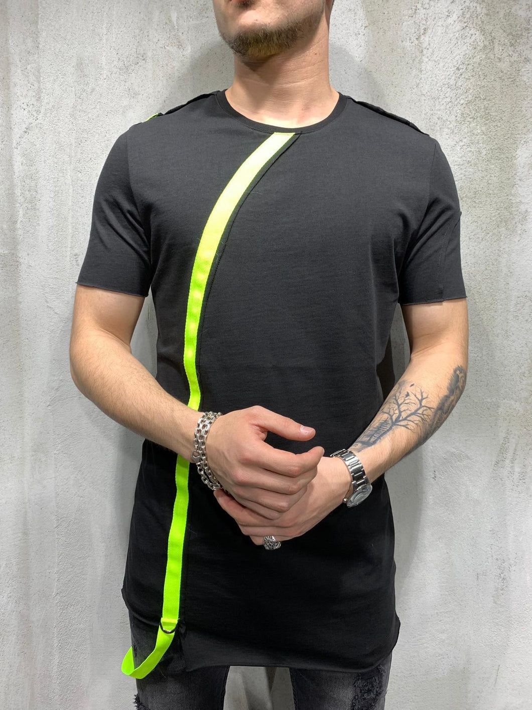 Black Neon Strap Oversized Mens T-Shirt AY431 Streetwear Mens T-Shirts