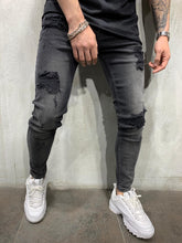 Load image into Gallery viewer, Washed Black Jeans Slim Fit Mens Jeans AY456 Streetwear Mens Jeans