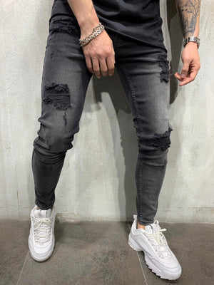 Washed Black Jeans Slim Fit Mens Jeans AY456 Streetwear Mens Jeans - Sneakerjeans