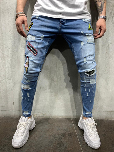 Blue Patched Jeans Slim Fit Mens Jeans AY450 Streetwear Mens Jeans