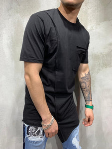Black Asymetric Oversized Mens T-Shirt AY473 Streetwear Mens T-Shirts