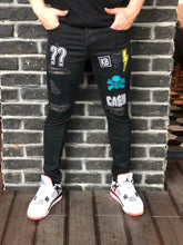 Load image into Gallery viewer, Patched Black Ripped Jeans Ultra Skinny Jeans KB161 Streetwear Mens Jeans - Sneakerjeans