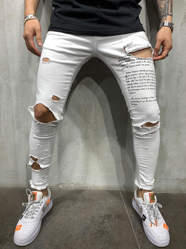 Black Printed White Ripped Slim Fit Mens Jeans AY548 / 4447 Streetwear Mens Jeans