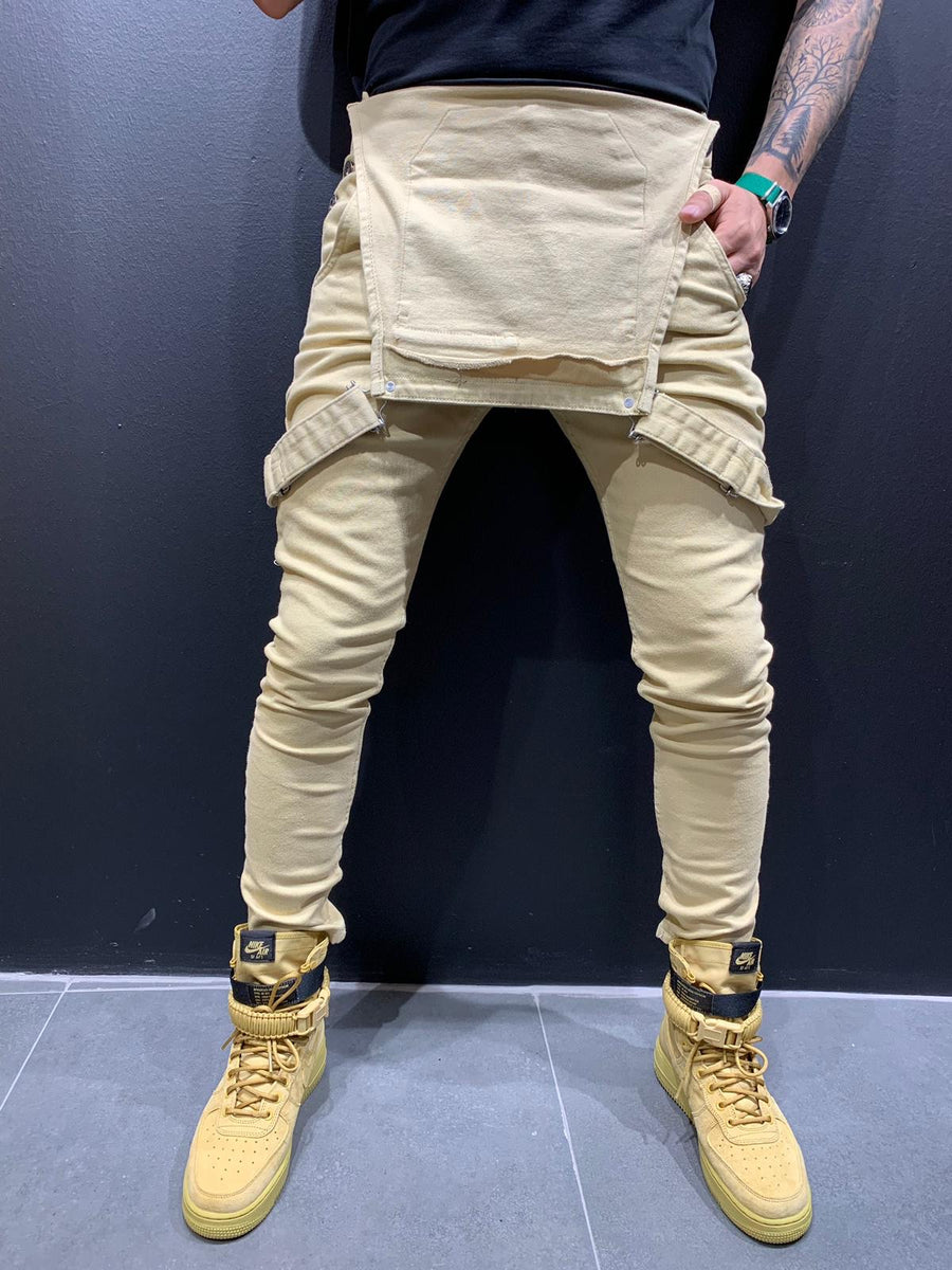 Beige Front Pocket Mens Jeans Overall AY565 Streetwear Mens Jeans Overall - Sneakerjeans