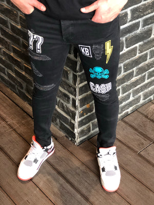 Patched Black Ripped Jeans Ultra Skinny Jeans KB161 Streetwear Mens Jeans - Sneakerjeans