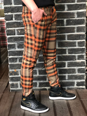 Orange Brown Mixed Colour Checkered Slim Fit Casual Pant DJ125 Streetwear Pant - Sneakerjeans