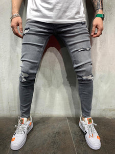Washed Gray Jeans Slim Fit Mens Jeans AY490 Streetwear Mens Jeans