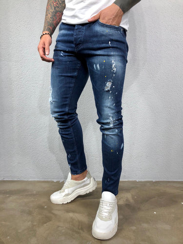 Blue Color Licking Ripped Jeans Slim Fit Jeans BL544 Streetwear Mens Jeans