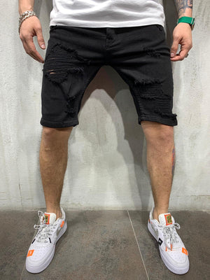 Black Ripped Jeans Short AY466 Streetwear Mens Shorts - Sneakerjeans