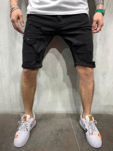 Black Ripped Jeans Short AY466 Streetwear Mens Shorts