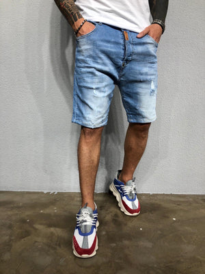 Washed Light Blue Ripped Jeans Short BL459 Streetwear Mens Shorts - Sneakerjeans