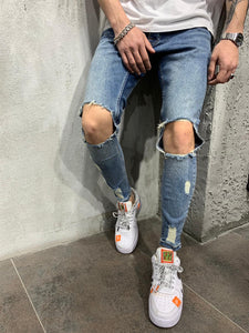 Blue Knee Ripped Jeans Slim Fit Mens Jeans AY448 Streetwear Mens Jeans