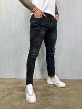Load image into Gallery viewer, Black Ripped Jeans Slim Fit Jeans BL476 Streetwear Mens Jeans