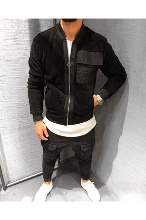 Black Sherpa Big Front Pocket Slim Fit Jacket BS-506 Streetwear Sherpa Jacket - Sneakerjeans