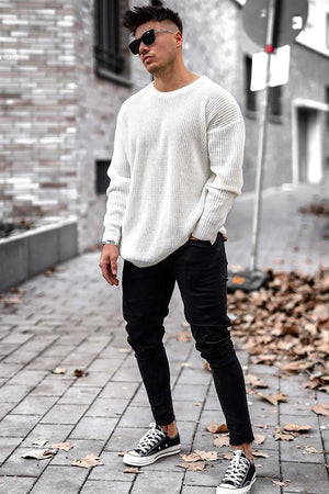 Sneakerjeans White Crew Neck Sweatershirt 4518