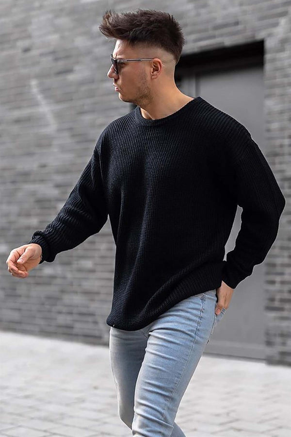 Sneakerjeans Black Crew Neck Sweatershirt 4518