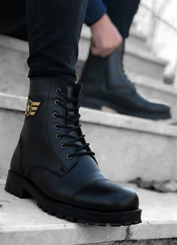 Sneakerjeans Black Combat Military Boots 2240