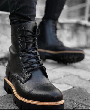 Sneakerjeans Black Combat Military Boots 592