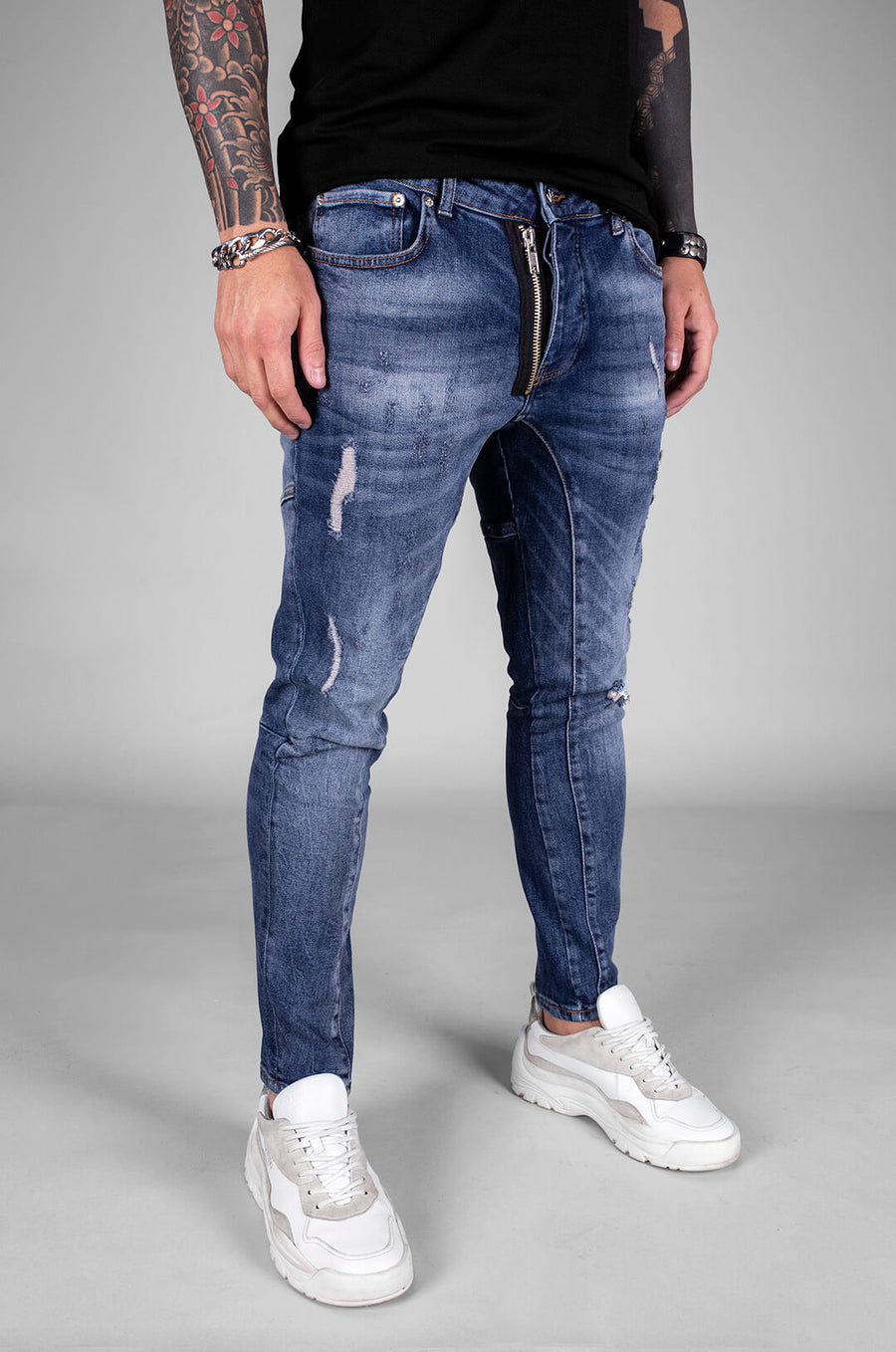 Sneakerjeans Blue Front Zippered Ripped Skinny Jeans BI-068