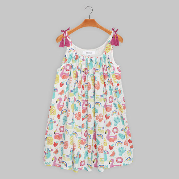 Girls Cotton Voile Printed Pool Party Dress