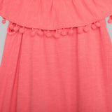 Neon Orange Dress with Pom Pom Trim
