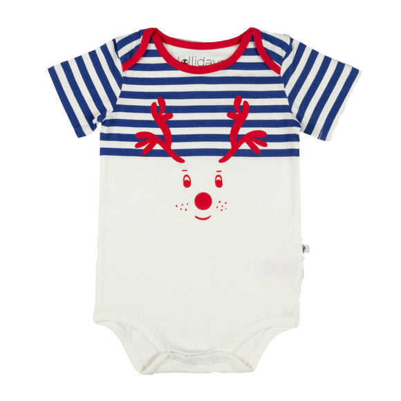 Christmas Navy Blue Reindeer Bodysuit - Lollidays Baby & Kids Clothing