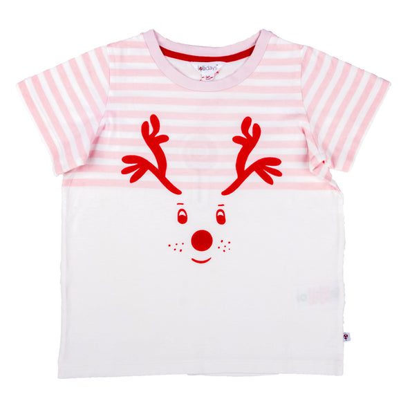 Christmas Reindeer Baby Pink T-Shirt - Lollidays Baby & Kids Clothing