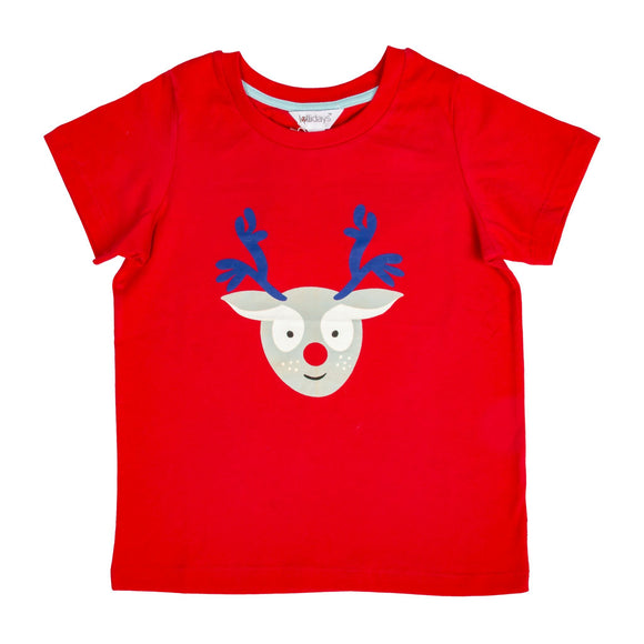 Christmas Red Reindeer T-Shirt - Lollidays Baby & Kids Clothing
