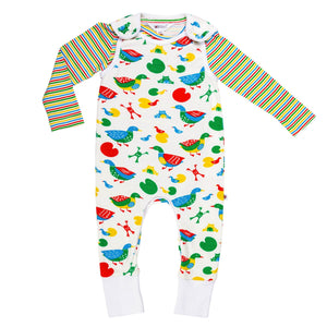 Duck Print Dungaree Set - Lollidays Baby & Kids Clothing